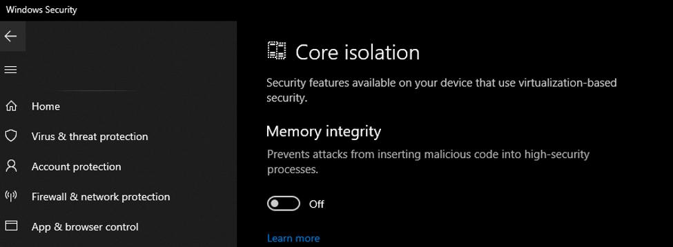Core isolation