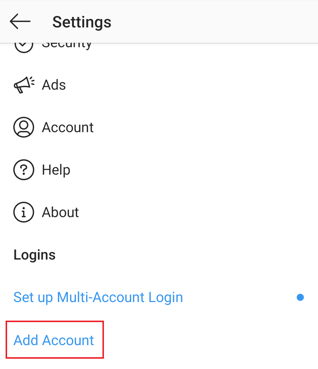 Open Setting to add multiple Account