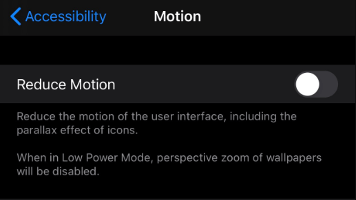 Reduce Motion feature