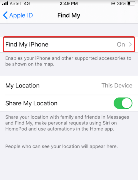 select Find My iPhone