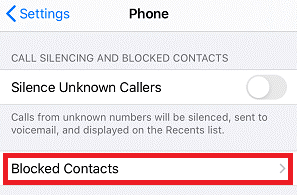 tap on Blocked Contacts