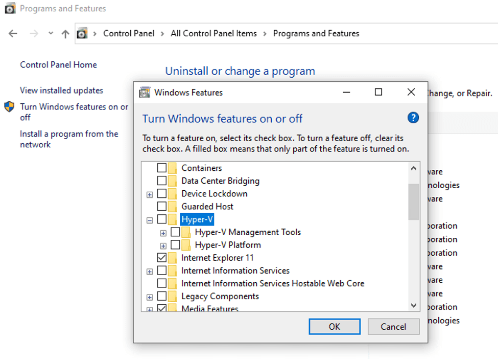 unistall or change a program