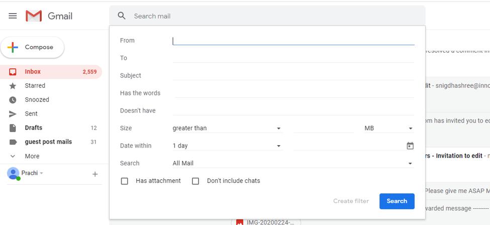 Advanced Option at Gmail Searchbox