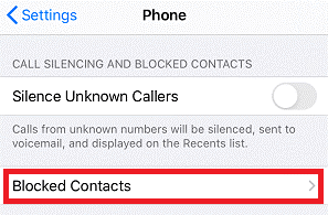 Blocked Contacts