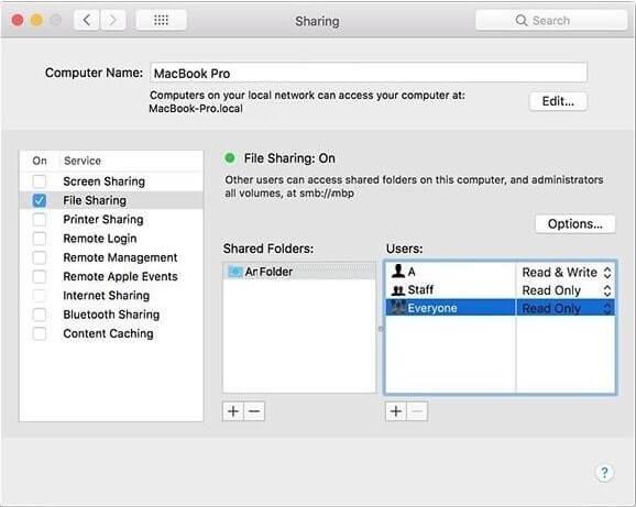 Mac OS File Sharing System