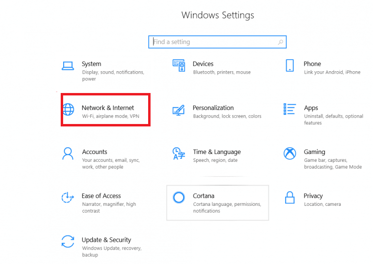 Network and Internet- Windows Setting