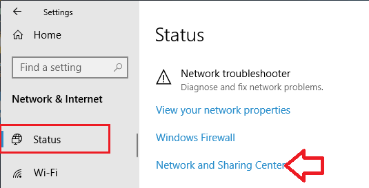Network and Sharing Center option