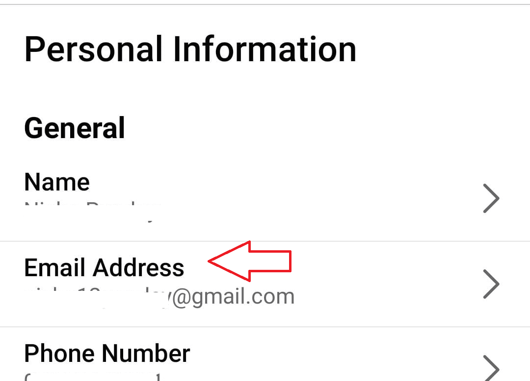Click on Email Address on Personal Information