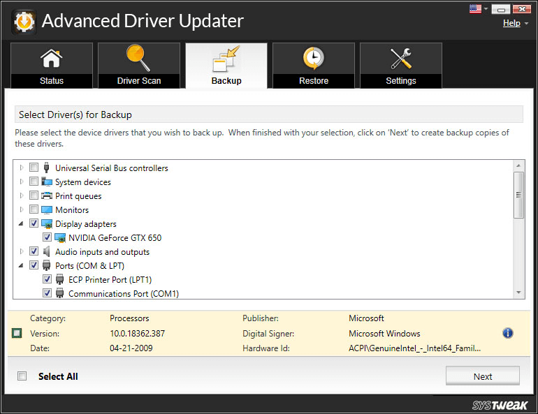 Easily back To Older Version of Advanced Driver Updater