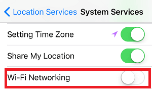 Turn off Location service for wi-fi