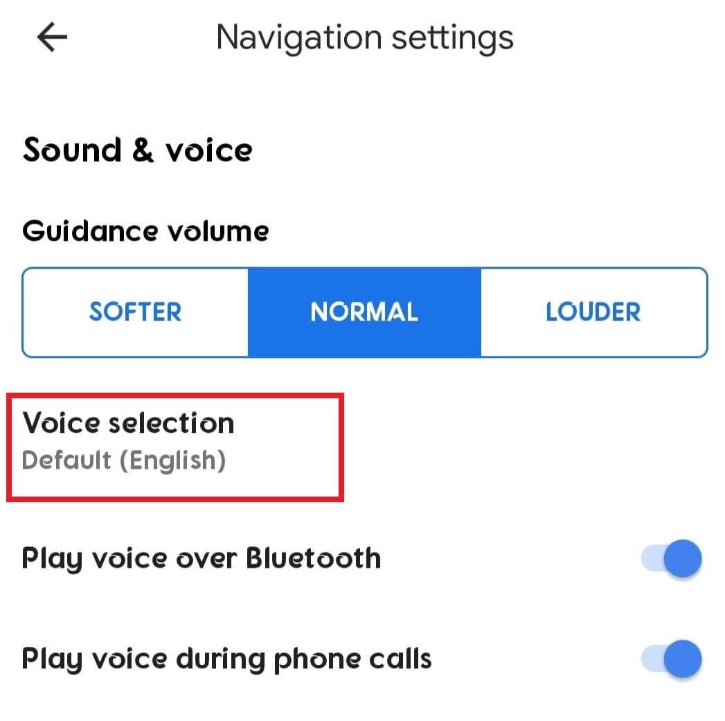 Voice Selection on Maps Navigation