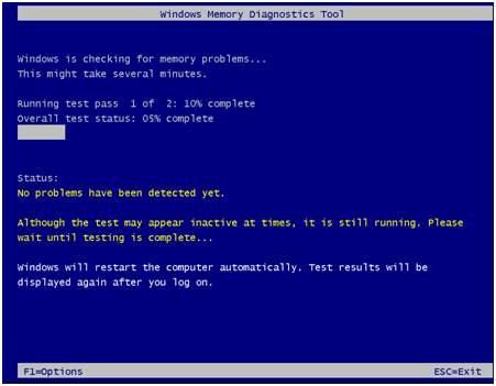 Windows memory dignostic tool