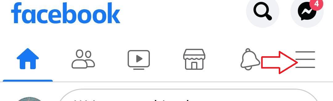tap on three lines of right corner in facebook app